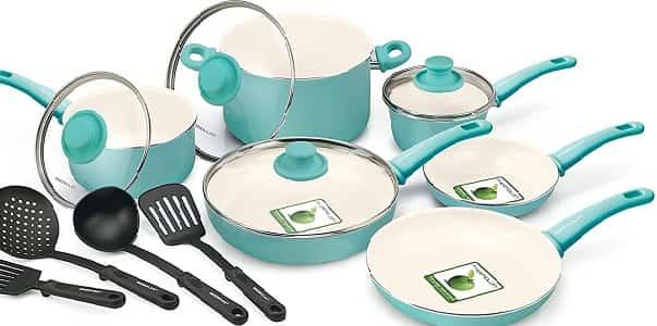GreenLife Soft Grip Ceramic Non-Stick 14-Piece Cookware Set