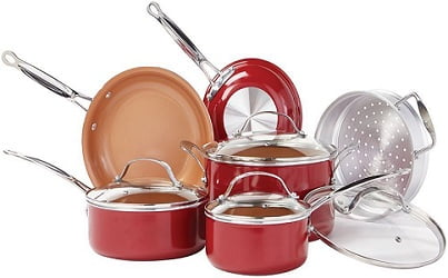 Red Copper BulbHead Ceramic Cookware