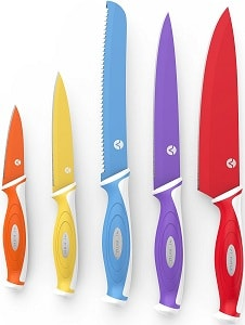 Vremi 10 Piece Colorful Knife Set with Matching Color Case