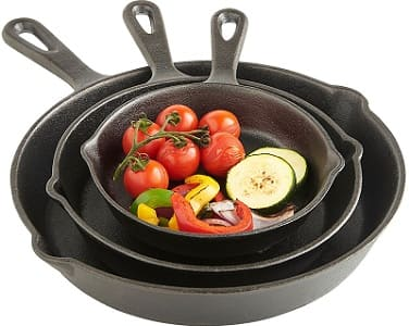 VonShef Pre Seasoned Non Stick Cast Iron Sauce Pan and Skillet Set