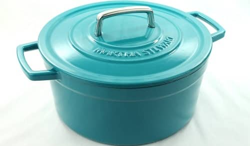 Martha Stewart Teal Blue Enameled Cast Iron 6 Qt. Dutch Oven Round Casserole