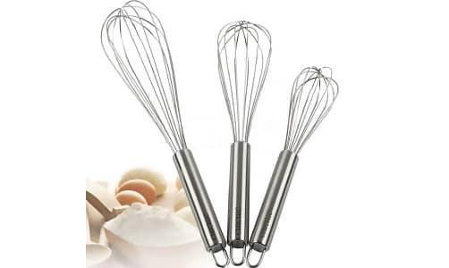 "CHICHIC 3Pcs 8"" + 10"" + 12"" Stainless Steel Kitchen Whisk Set"