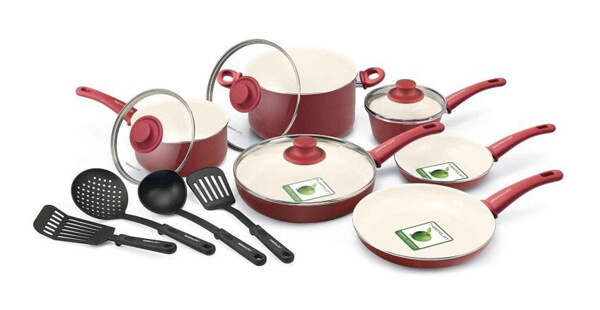 GreenLife Soft Grip Ceramic Non-Stick 14-Piece Cookware Set