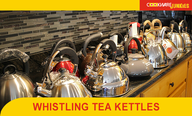 wideshot of kettles on counter