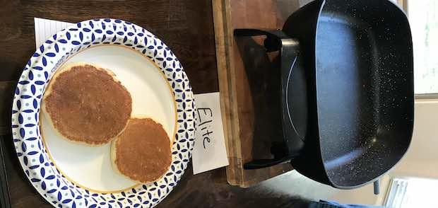 cooking pancakes in skillet