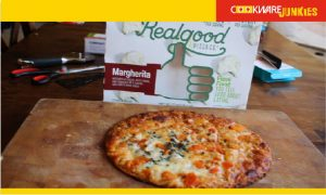 Real Good Cauliflower Crust Margherita cooked pizza