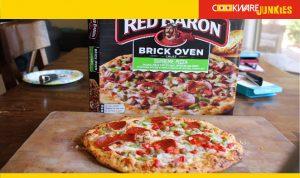 Red Baron Brick Oven Crust Supreme cooked pizza