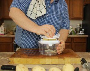 testing-potato-slicing-with-Ultra-Chef-Express-Food-Chopper-using-Mandoline-lid