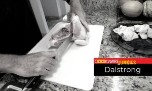 cutting chicken with Dalstrong knife