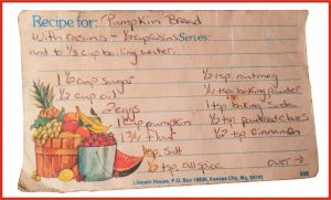 recipe card pumpkin bread by grandmas