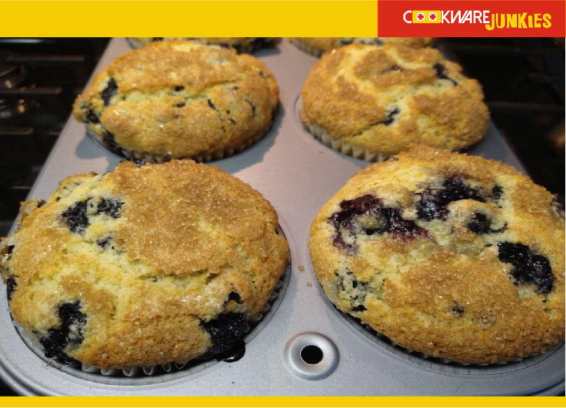 Blueberry muffins after baking
