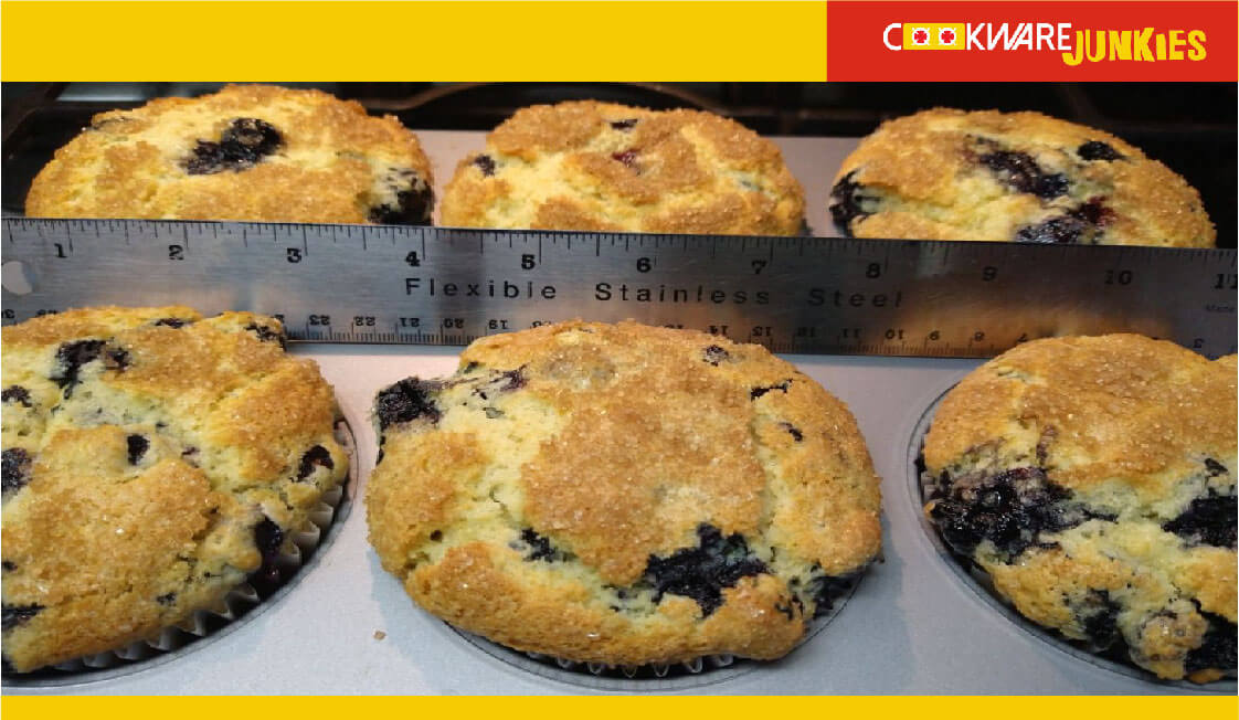 Blueberry muffins after baking with ruler