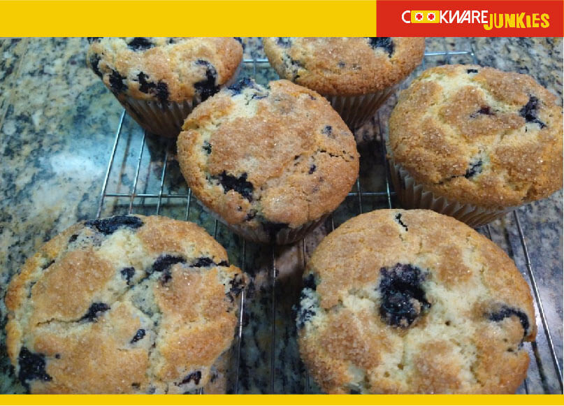 Blueberry muffins racked to cool