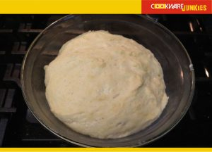 No knead milk bread dough after second rise in bowl
