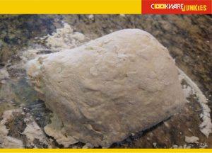 Single rise focaccia shaggy dough ready to knead for Focaccia recipe