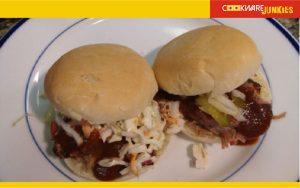 White bread recipe buns served as pork sandwich