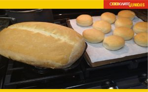 cooked loaf and buns for White bread recipe