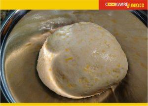 Sourdough cheese bread dough after rise