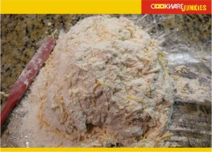 Sourdough cheese bread shaggy dough well floured