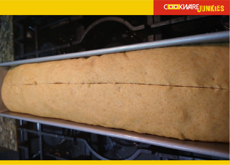 Long Loaf of Whole Wheat recipe loaf with cut ready to bake