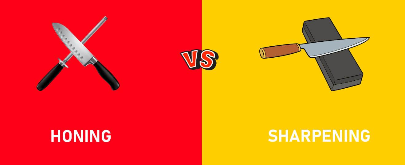 Honing versus sharpening illustration