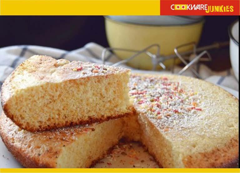baked sponge cake in skillet