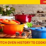 Dutch ovens on wood table with vegetables Featured image