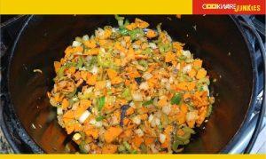Chop vegetables cook in black pan