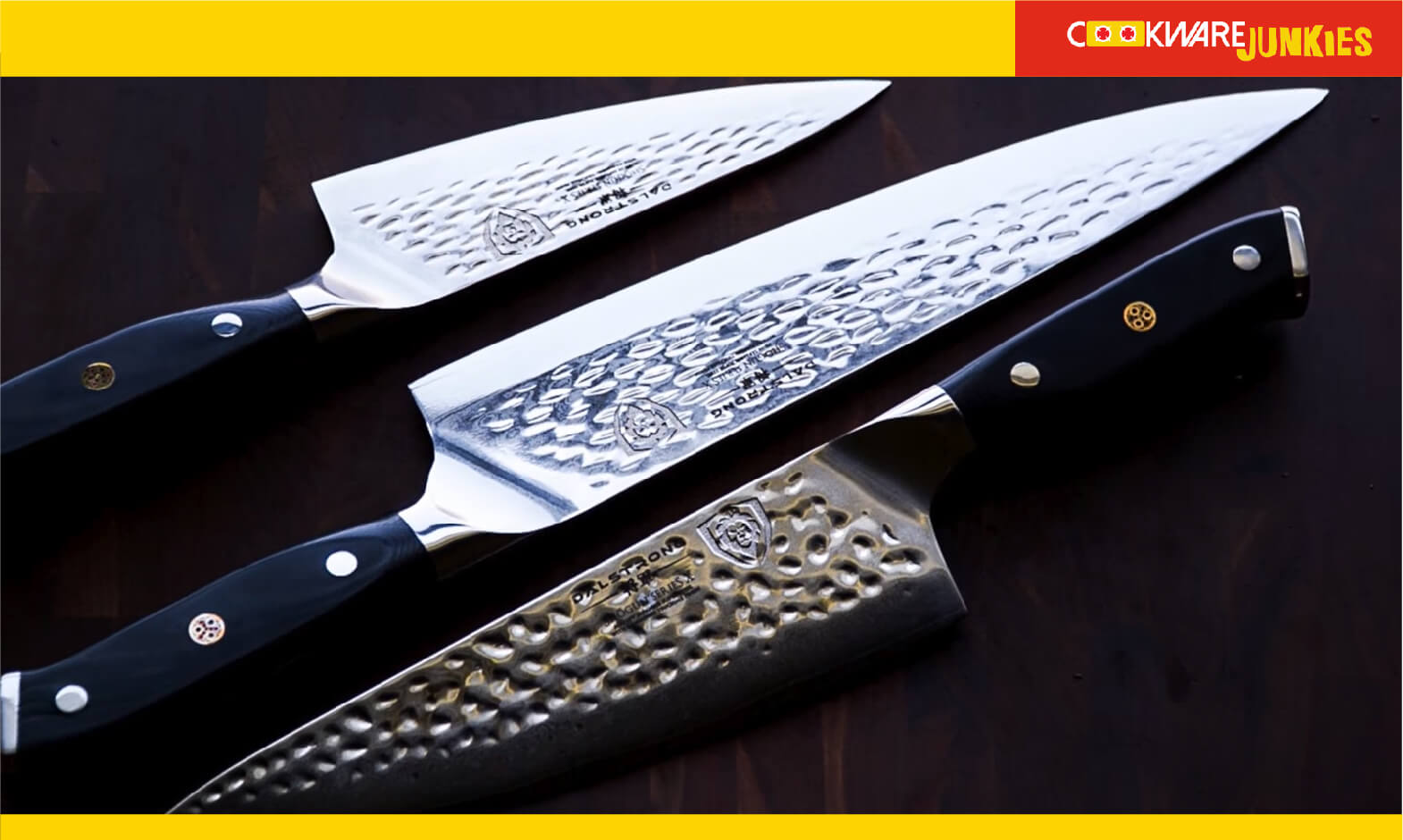 Three Dalstrong Knives with black background