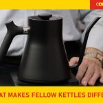 Fellow kettle on wood surface