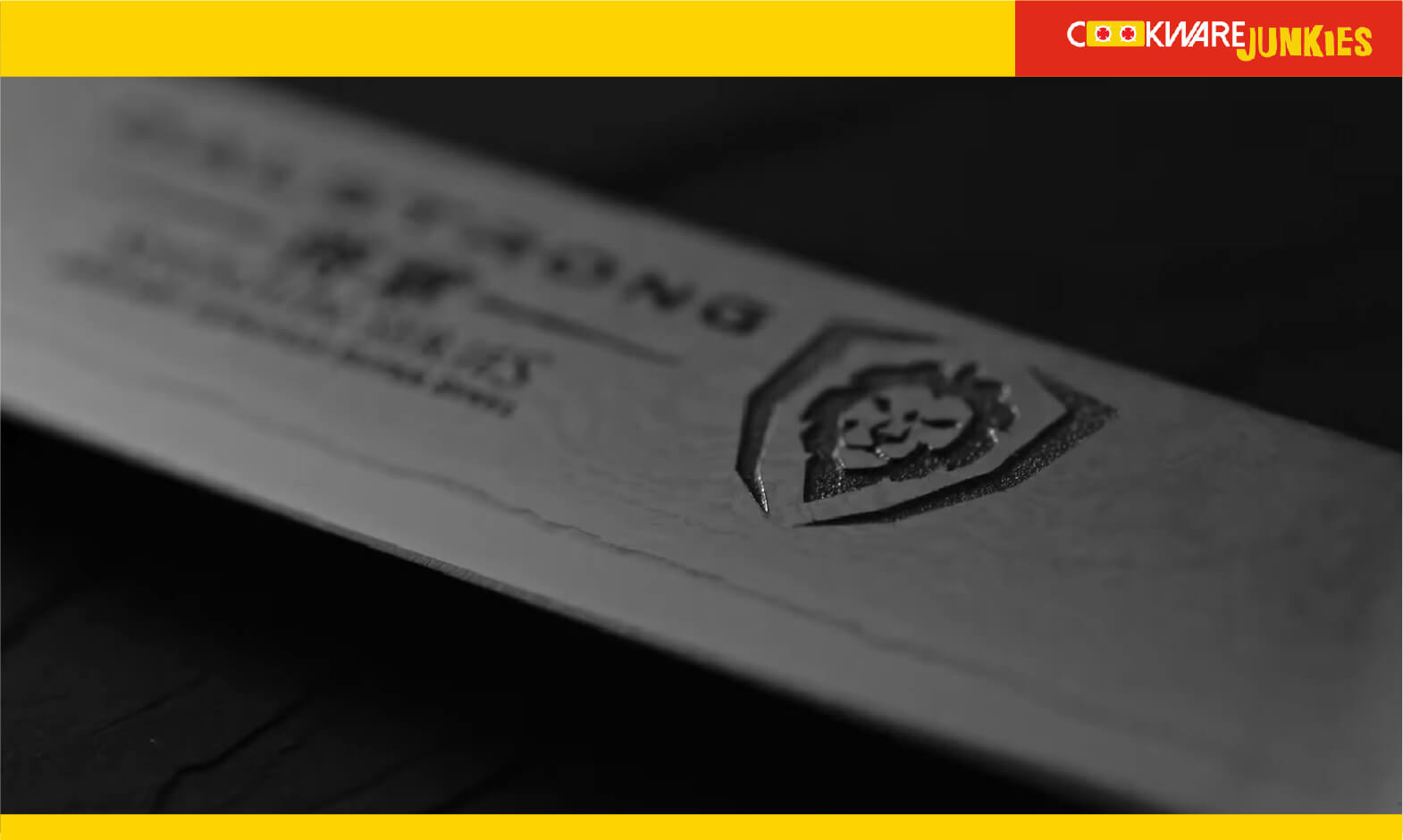 Dalstrong logo on Knive with black background