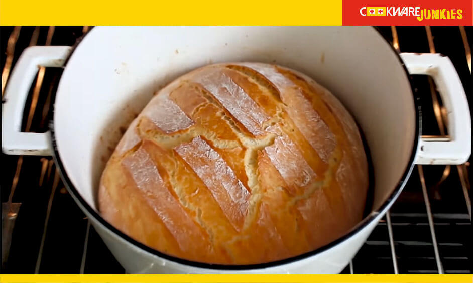 baked bread in enameled cast iron dutch oven