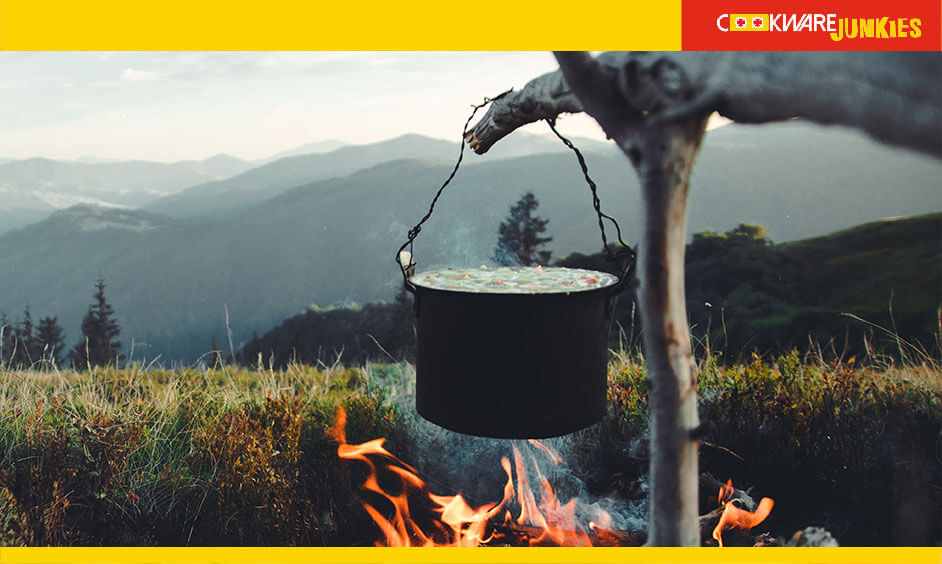 Boiling water in a cast-iron pot