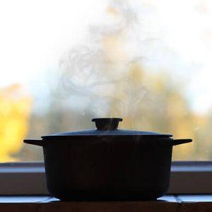 Dutch oven releasing steam