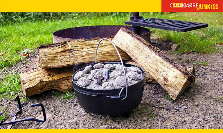 A dutch oven with firewood