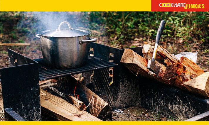 Cooking in dutch oven during camping