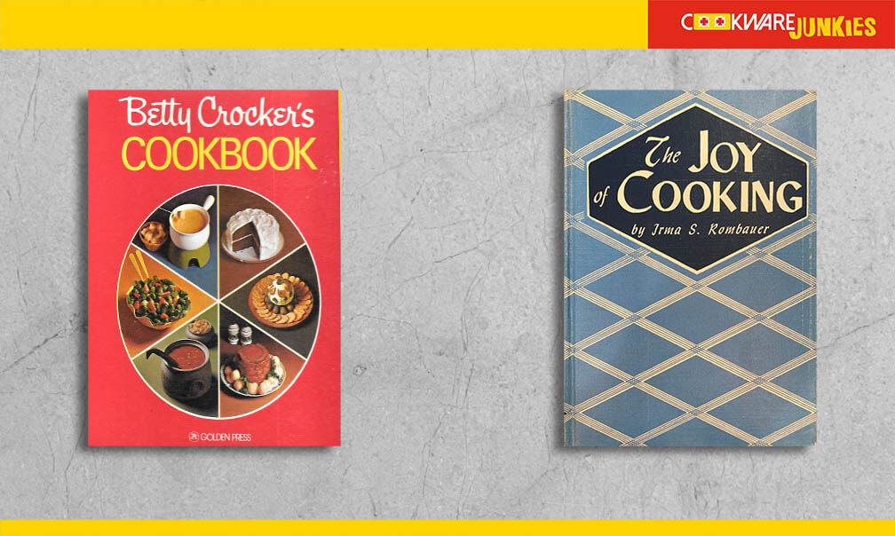 Betty Crocker cookbook and The Joy of Cooking
